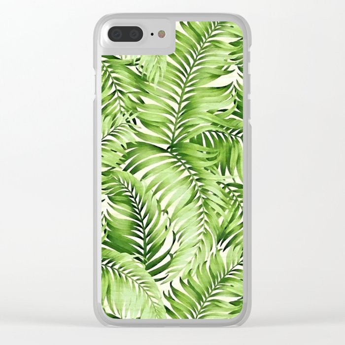 Greenery palm leaves Clear iPhone Case