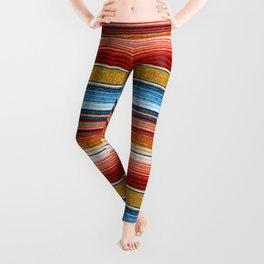 serape southwest stripe - red, blue, gold Leggings