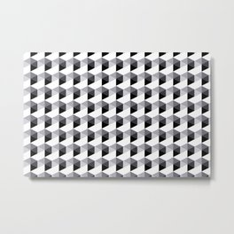 Pantone Lilac Gray Hexagon, Cube Pattern Optical Illusion Metal Print
