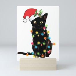 Black Santa Cat Tangled Up In Lights Christmas Santa Illustration Mini Art Print