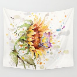 Hand In Hand (Butterfly & Sunflower) Wall Tapestry