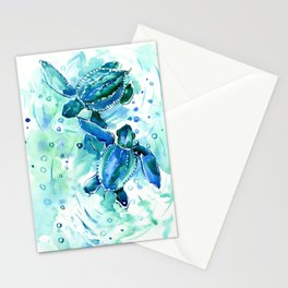 Turquoise Blue Sea Turtles in Ocean Stationery Cards