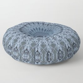 Gray and light blue mandala Floor Pillow