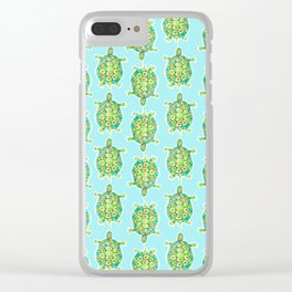 Tortoise Pattern with aqua background Clear iPhone Case
