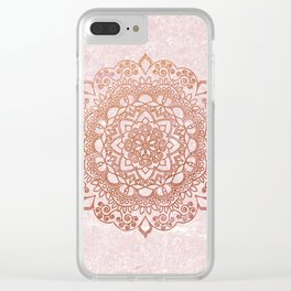 Mandala on concrete - rose gold Clear iPhone Case