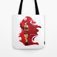 rwby Tote Bags featuring RWBY Pyrrha by IslandMyths
