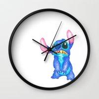 lilo and stitch Wall Clocks featuring Stitch by Kailan Harris (TheLonelyZero)