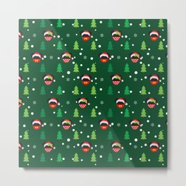 Christmas Santa Mouse Ears Metal Print