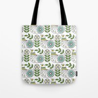 mid century Tote Bags featuring Mid Century Danish Bird by MidPark Prints