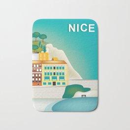 Nice, France - Skyline Illustration by Loose Petal Bath Mat