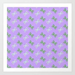 Modern artistic violet green butterfly illustration pattern Art Print