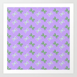 Modern artistic violet green butterfly illustration pattern Art Print