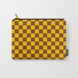 Amber Orange and Chocolate Brown Checkerboard Carry-All Pouch
