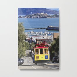 Classic Cable Car Climbing a Hill, San Francisco, California Metal Print