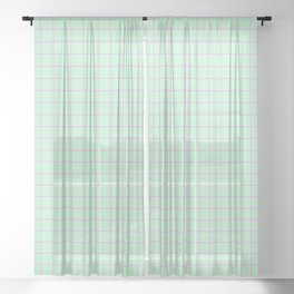 Grid Pattern - mint and pink - more colors Sheer Curtain