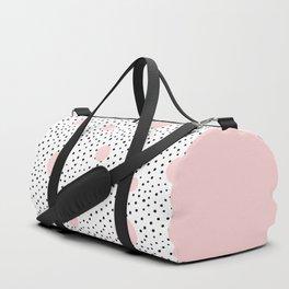 Pink And Black Modern Polka Dot Pattern Duffle Bag