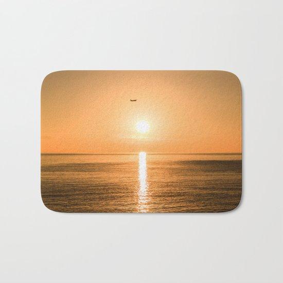 Flight Over The Sea At Sunset Bath Mat