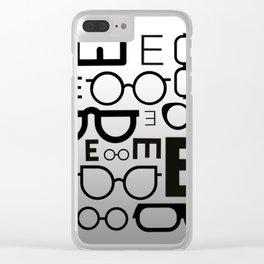 Eye Chart eyeglasses gray glasses Clear iPhone Case