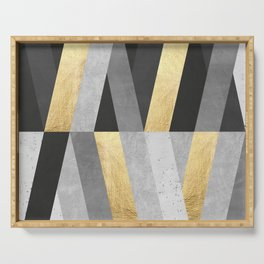 Gold and gray lines I Serving Tray