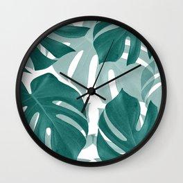Monstera Leaves Vibes #1 #tropical #foliage #decor #art #society6 Wall Clock