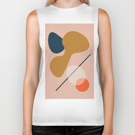 Abstract # 5 Beige Blue Orange Biker Tank
