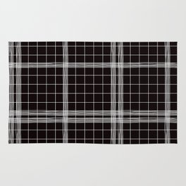 Back to School- Simple Handdrawn Grid Pattern- Black & White- Mix & Match with Simplicity of Life Rug