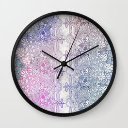 big blue leaf lace Wall Clock