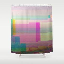 SCRATCHED DISK - Glitch Art Print Shower Curtain