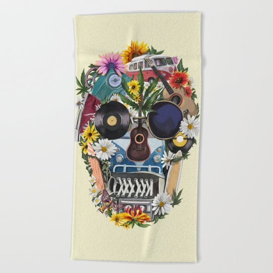 summer skull Beach Towel