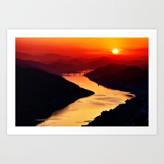 Sunset at the River Art Print