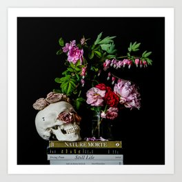 Garden flowers and Skull Art Print