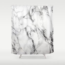White Faux Marble Texture Shower Curtain