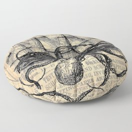 Octopus Kraken attacking Ship Antique Almanac Paper Floor Pillow