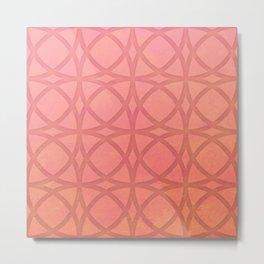 coral pink minimal pattern with geometric lines Metal Print