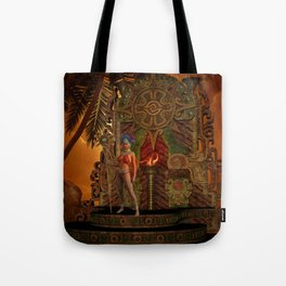 Fantasy maya temple in the sunset Tote Bag