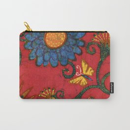 Batik butterflies and flowers on red Carry-All Pouch