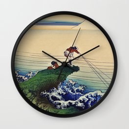 Japanese fine art, fisherman inland fishing with Mount Fuji in the background. Wall Clock