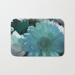 Blue And White Bouquet Bath Mat