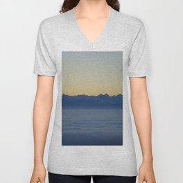 Mountains above the clouds Unisex V-Neck