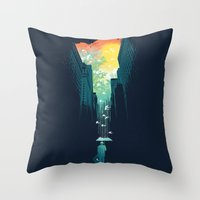 bianca green Throw Pillows featuring I Want My Blue Sky by Picomodi