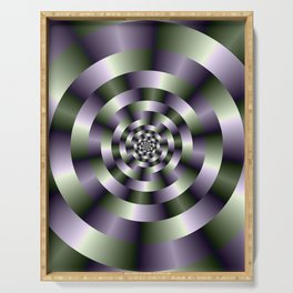 Concentric Circles in Green and Purple Serving Tray