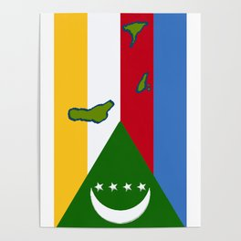 Comoros Flag with Map of the Comoros Islands Poster