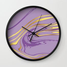 Violet Gold Marble Wall Clock