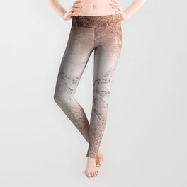 Modern faux rose gold glitter and foil ombre gradient on white marble color block Leggings