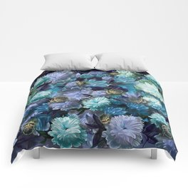 """""""Baroque floral with bugs"""" Comforters"""