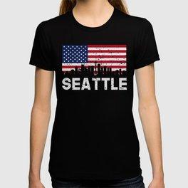 Seattle WA American Flag Skyline Distressed T-shirt