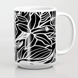 Black White Floral Minimalist Coffee Mug