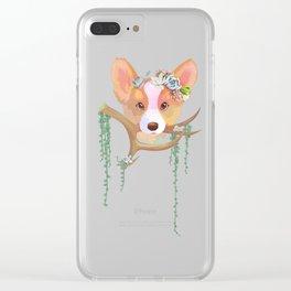 Succulent Corgi Clear iPhone Case