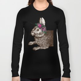 The Rabbit and Roses | Vintage Rabbit with Flower Crown | Rabbit Portrait | Bunny Rabbits | Bunnies Long Sleeve T-shirt