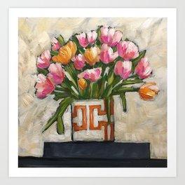 Tulips in a Greek Key Vase Art Print